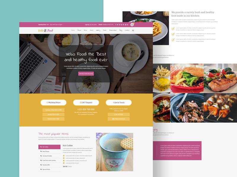 Vevo Food – Free Cafe PSD Website Template