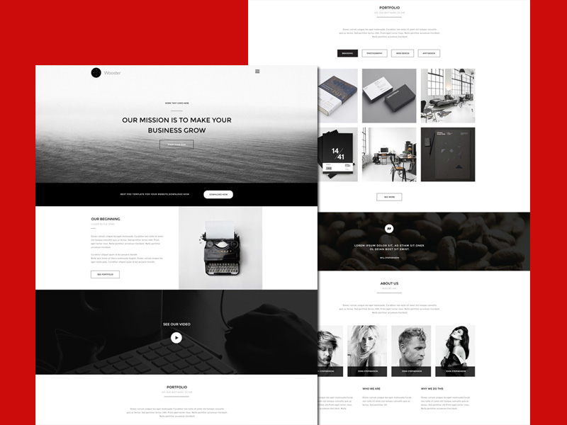 Wooster – Free Bootstrap Single Page Template
