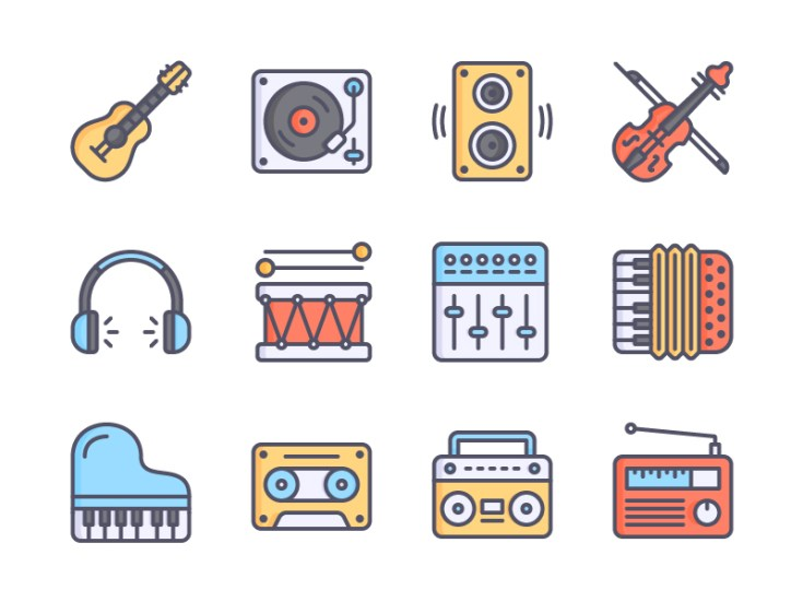 Free Colored Music Icons