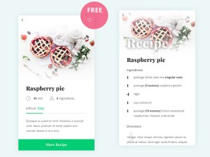 Free Recipe App PSD