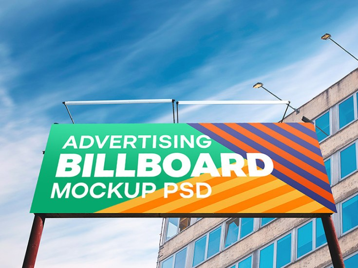 Free Outdoor Advertising Billboard Hoarding Mockup