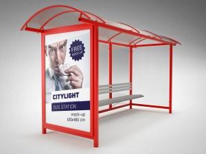 Free Bus Station Mockup PSD
