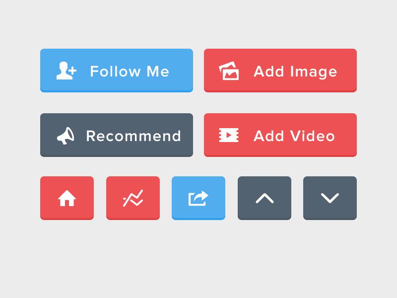 Free Flat UI Buttons PSD