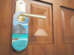 Free Photorealistic Door Hanger Mockup