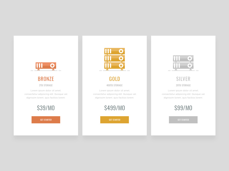 Minimal Pricing Table UI Design