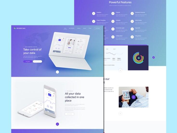 Mi Social – Free Flat PSD Website Template