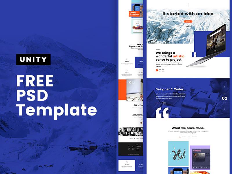 Unity – Free Personal Portfolio PSD Template
