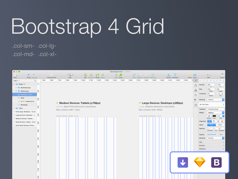 Free Bootstrap 4 grid for Sketch