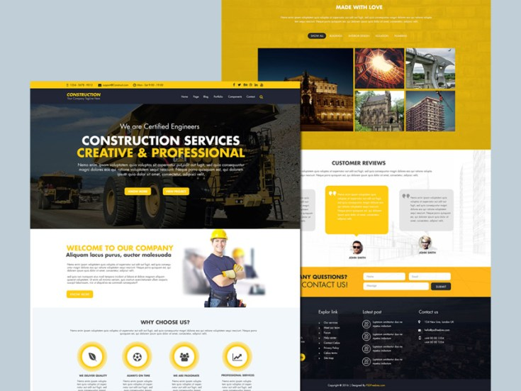 Free Character Design Website : Construction website template free psd download
