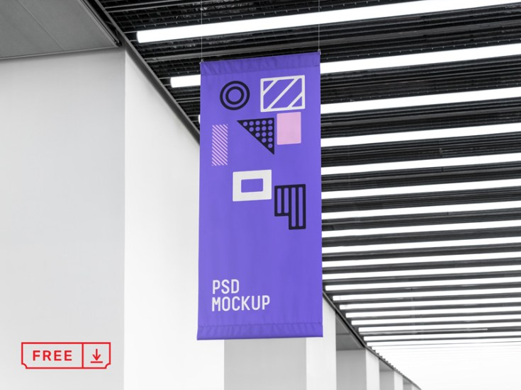 Free Vertical Flag Mockup PSD