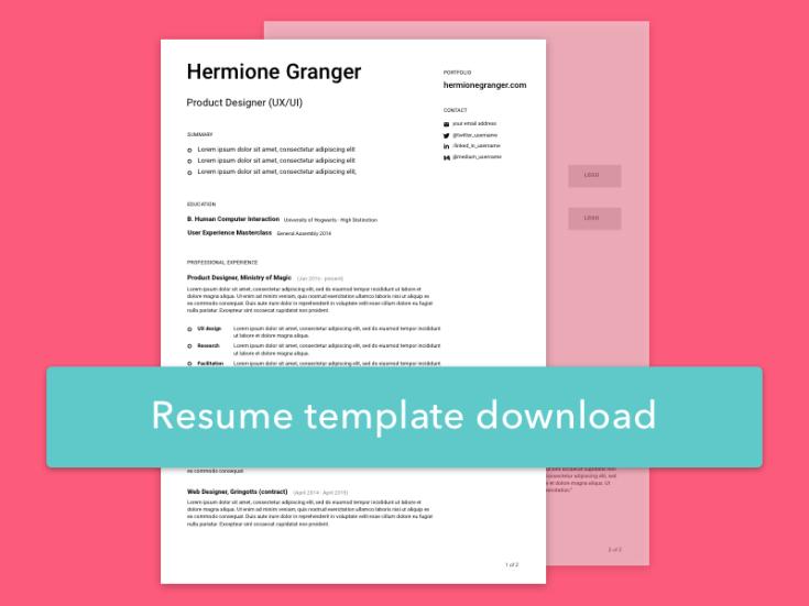 Free Simple Sketch Resume Template