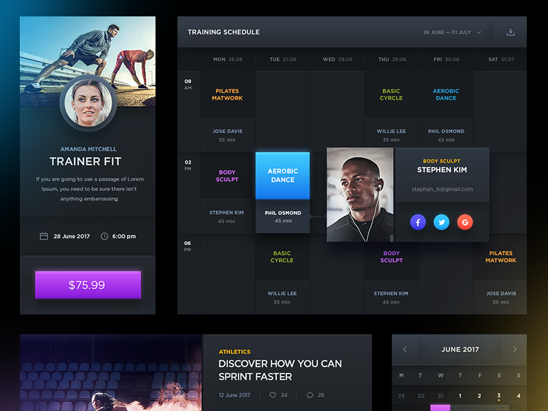 Sports UI Kit PSD