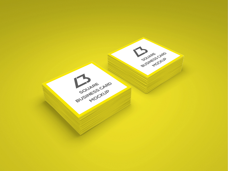 Square Business Card PSD Mockup