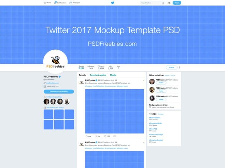 Twitter 2017 Mockup Template Free PSD
