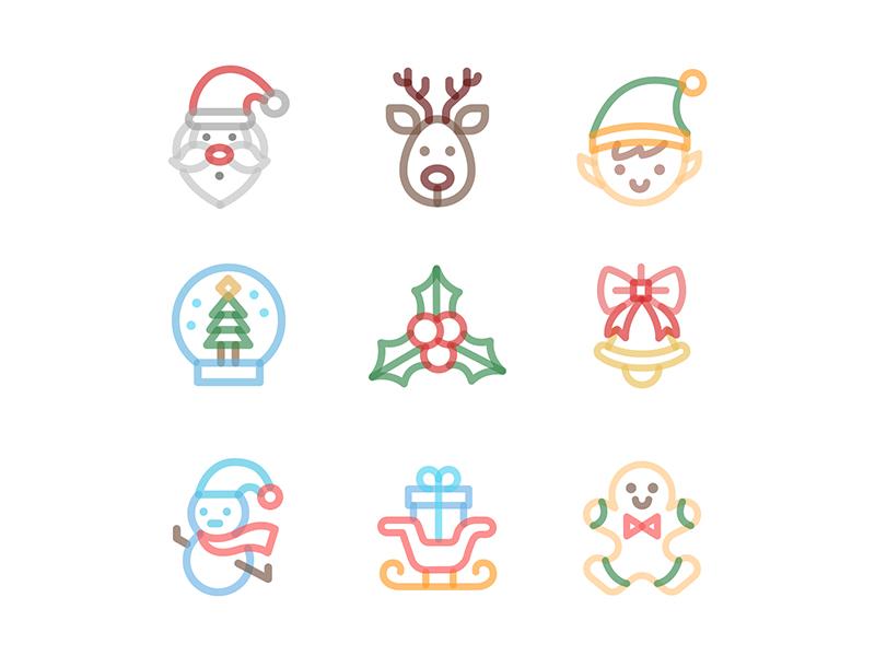 Free Christmas Line Icon Set