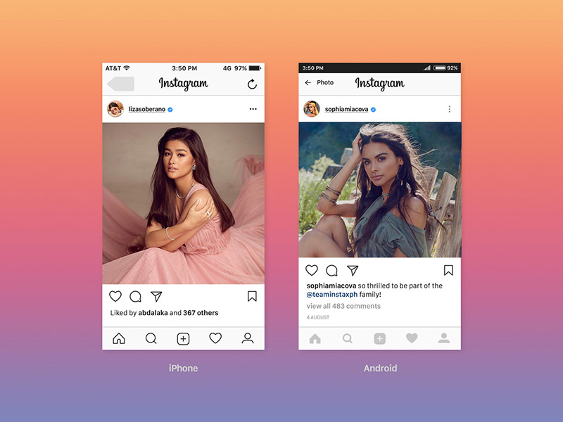 Free Instagram UI Feed Mockup