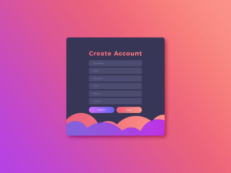 Create Account Screen UI Template