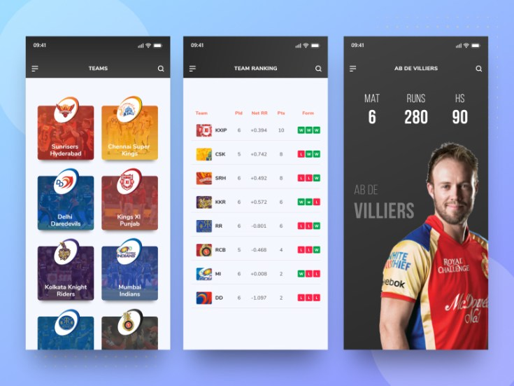 Free Cricket App UI Template