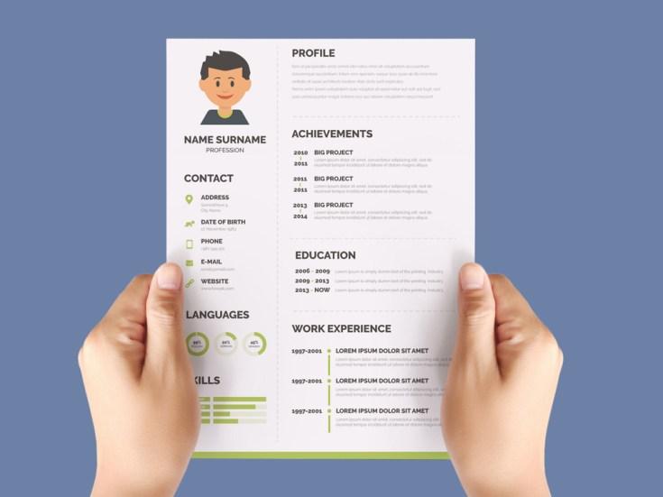 Free Flat Green CV Template
