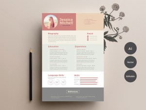 Free Elegant Colorful Resume Template