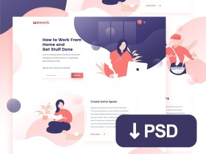 Free Flat Job Website Template