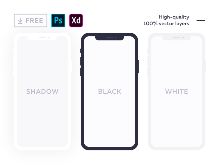 Free Flat iPhone X Mockup (PSD and XD)