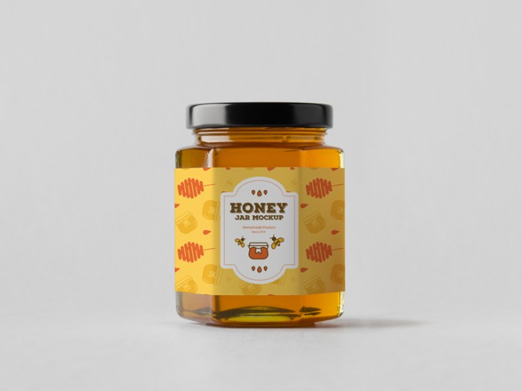 Free Honey Jar Mockup PSD