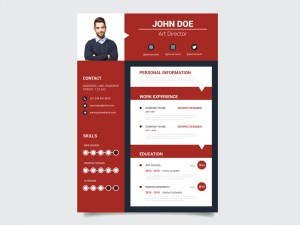 Free Modern Red Resume Template