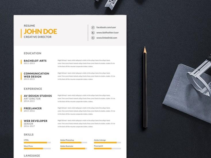 Free Simple Editable Resume Template