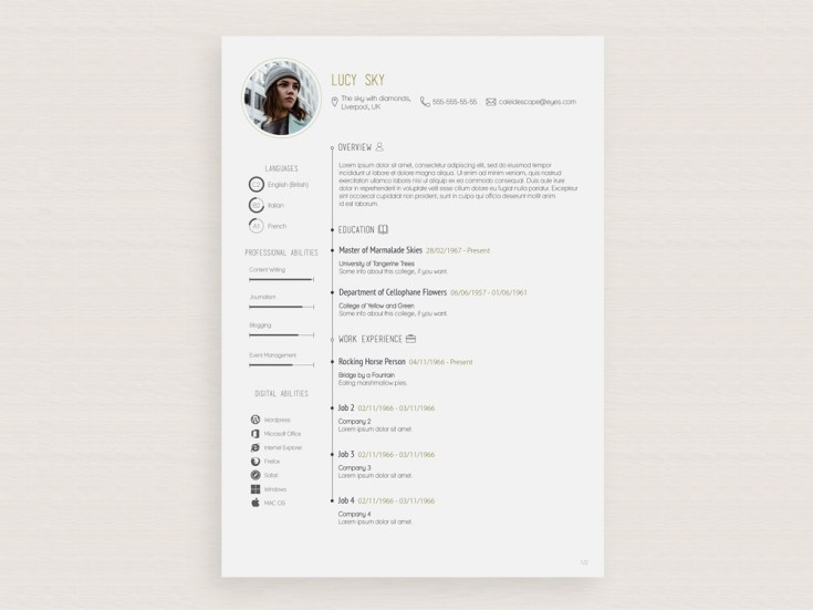 Free Vector Illustrator Resume Template