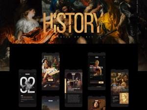 Free History App UI Kit PSD