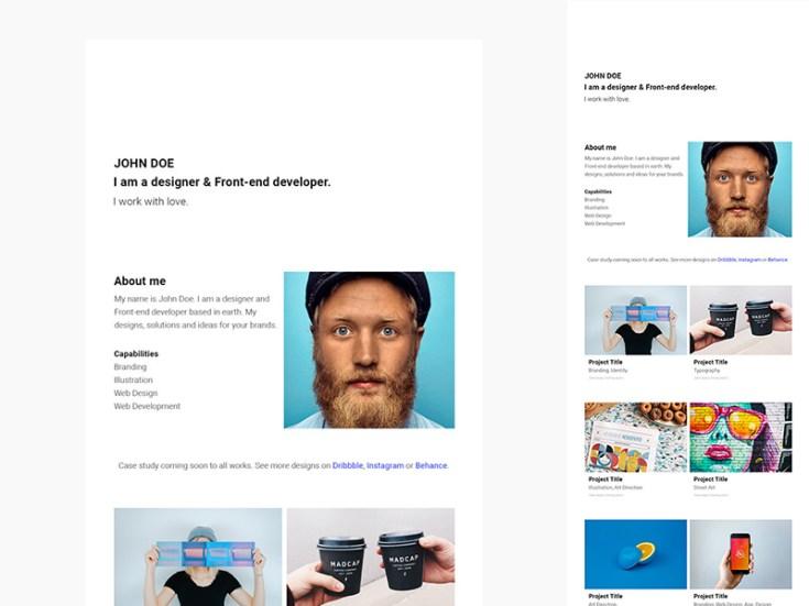 Minimal Portfolio PSD Web Template