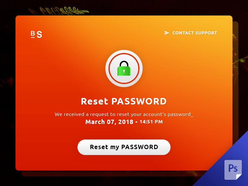 Reset Password Pop Up UI