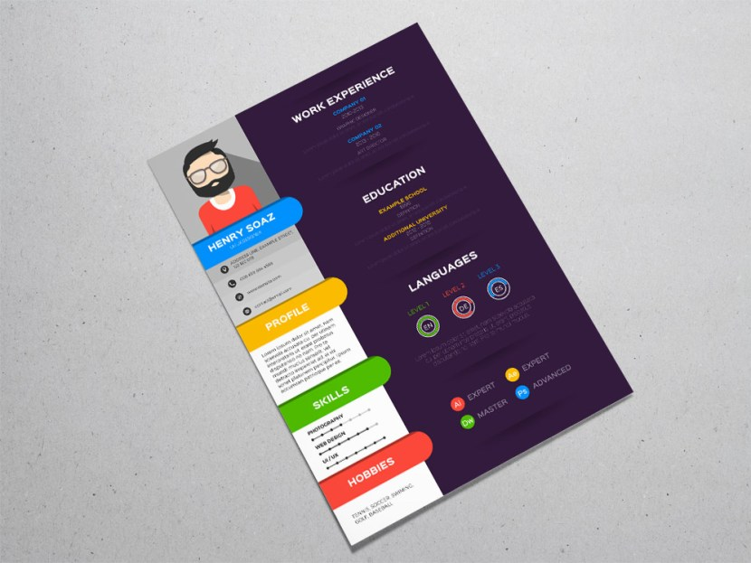 Free Stylish Colorful Resume Template