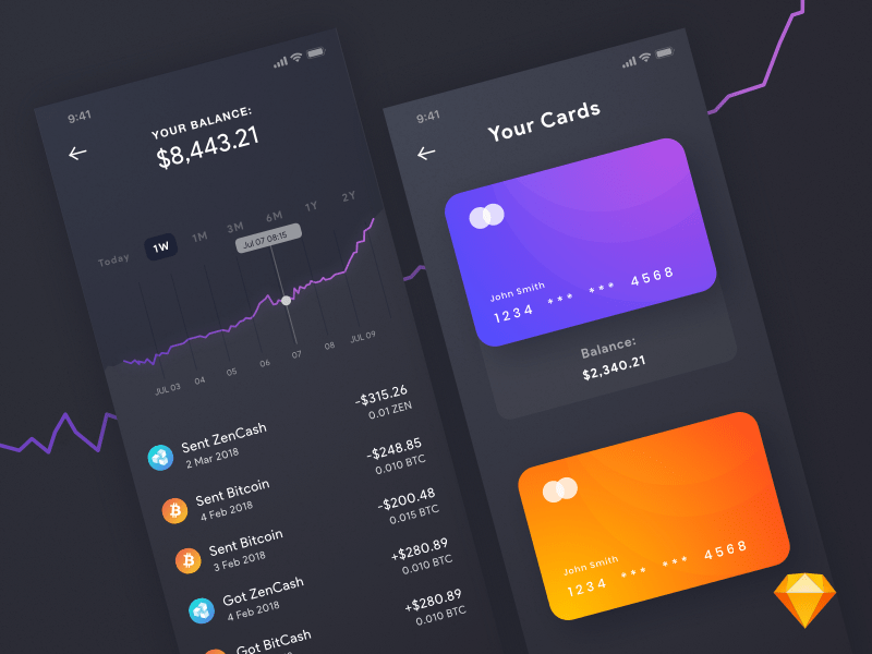 Free Bitcoin App UI Layout