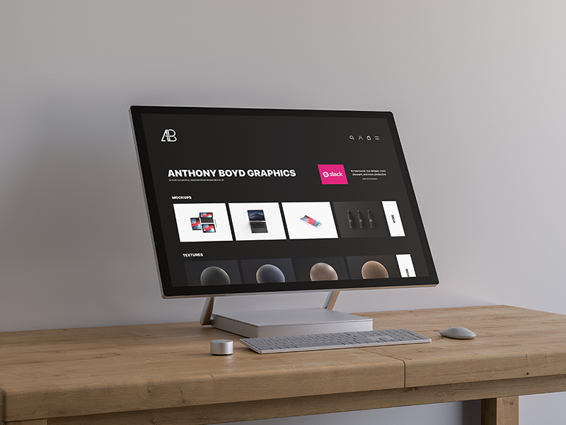 Free Surface Studio Mockup PSD