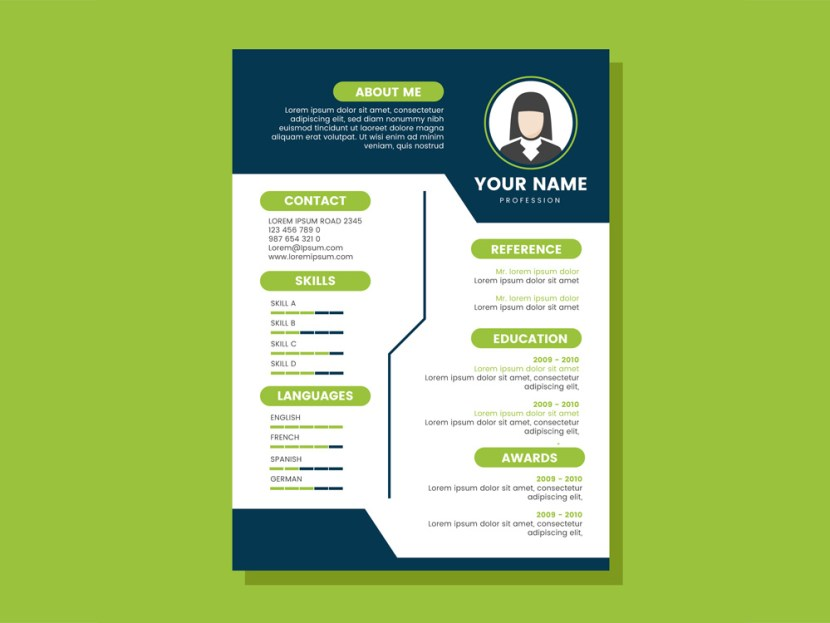 Free Blue and Green CV Template