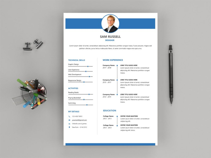 Free Modern Word Resume Template with Clean Look