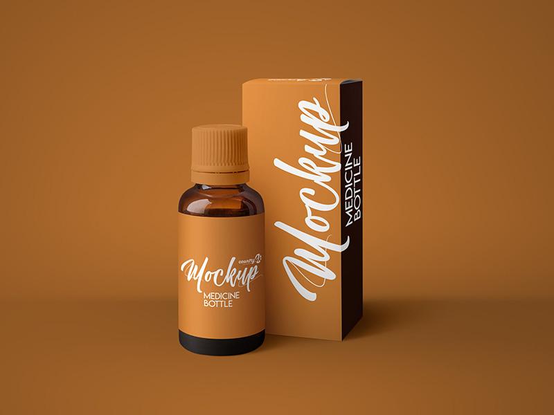 Free Amber Medicine Bottle MockUp