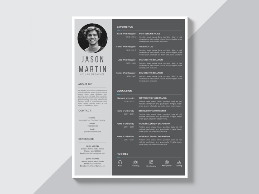 Free Grey Resume Template