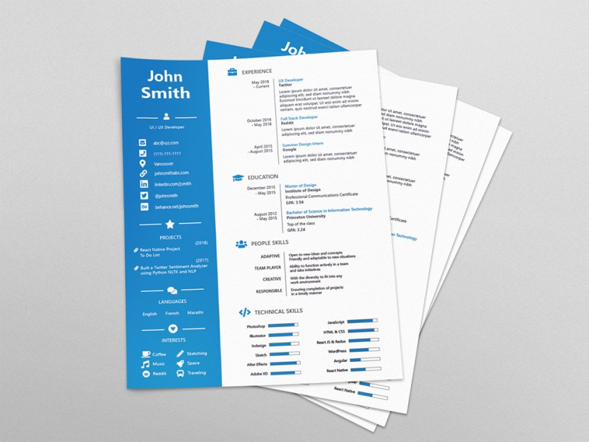 Free Four Version Resume Template