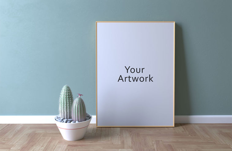 Free Frame Mockup With Cactus