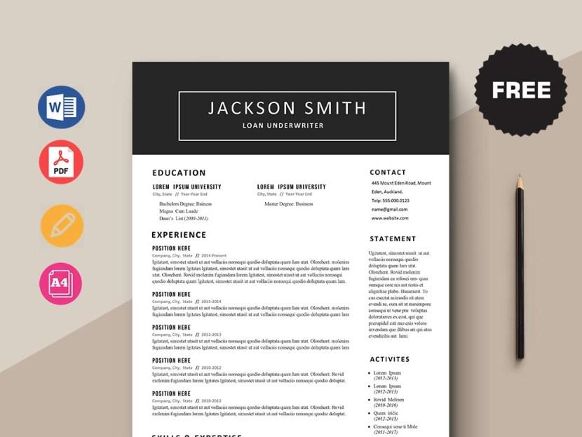 Free Loan Underwriter CV/Resume Template