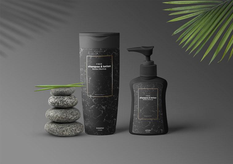 Free Pump and Shampoo Bottle Mockup