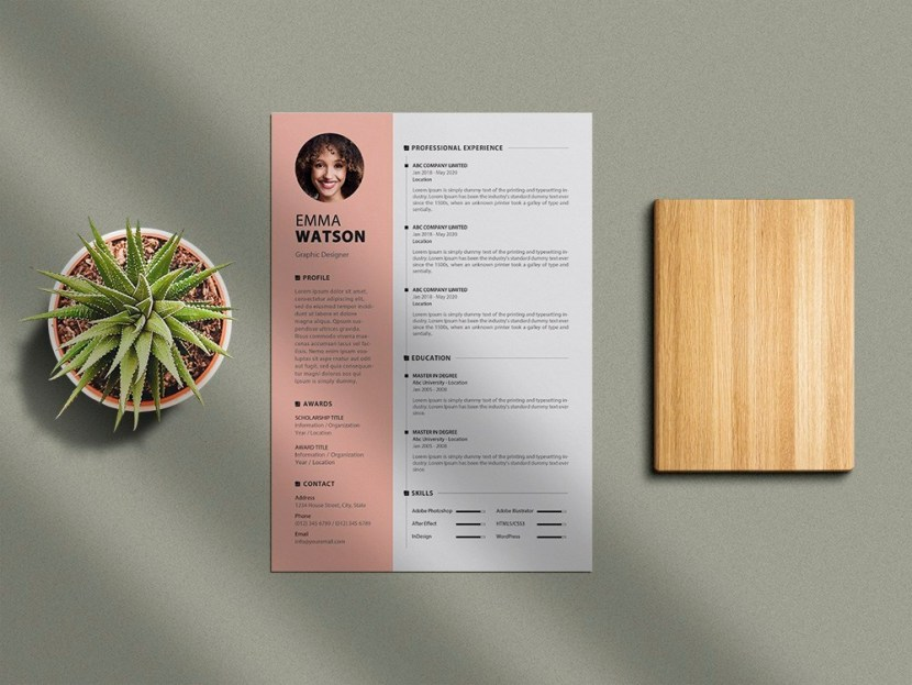 Free Creative Resume Template with Minimalist Style