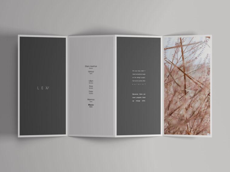 Free Four Fold Open Brochure Mockup