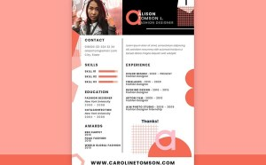 Free Geometric Fashion Resume Template