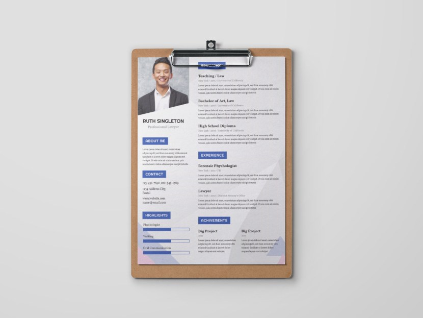 Free Lawyer Advocate Resume Template
