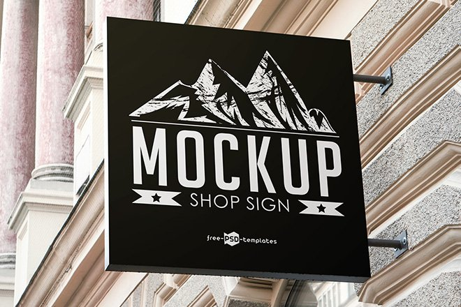 Free Outdoor Shop Sign Mockup