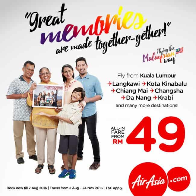 AirAsia Promotion 2016 - RM49 Lowest Fares